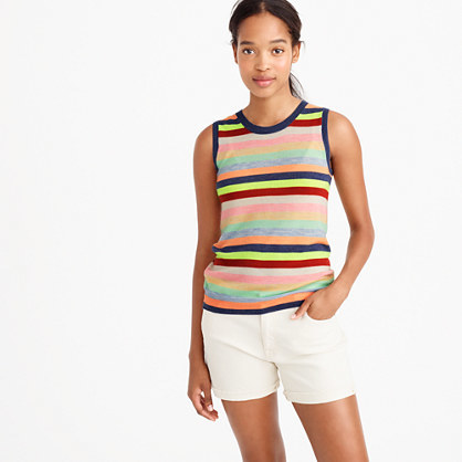 Italian Featherweight Cashmere Shell In Candy Stripe - pattern: horizontal stripes; sleeve style: sleeveless; style: vest top; predominant colour: pink; secondary colour: yellow; occasions: casual, creative work; length: standard; fit: body skimming; neckline: crew; fibres: cashmere - 100%; sleeve length: sleeveless; texture group: knits/crochet; pattern type: fabric; pattern size: standard; multicoloured: multicoloured; season: s/s 2016; wardrobe: highlight