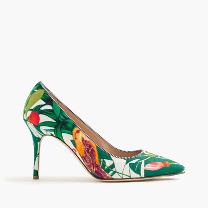 Elsie Pumps In Ratti® Into The Wild Print - predominant colour: emerald green; occasions: occasion, creative work; material: leather; heel height: high; heel: stiletto; toe: pointed toe; style: courts; finish: plain; pattern: florals; multicoloured: multicoloured; season: s/s 2016; wardrobe: highlight