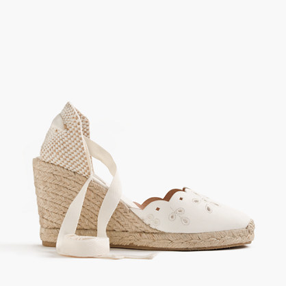 Sardinia Leather Eyelet Espadrille Wedges - predominant colour: white; material: leather; heel height: high; ankle detail: ankle strap; heel: wedge; toe: round toe; occasions: holiday, creative work; finish: plain; pattern: plain; style: espadrilles; season: s/s 2016