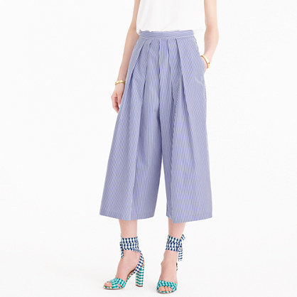 Striped Culotte Pant - pattern: vertical stripes; waist: high rise; predominant colour: lilac; fibres: cotton - 100%; occasions: occasion; hip detail: front pleats at hip level; pattern type: fabric; texture group: other - light to midweight; season: s/s 2016; style: culotte; length: below the knee