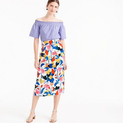 Petite Pintucked Midi Skirt In Morning Floral - length: calf length; fit: loose/voluminous; waist: high rise; predominant colour: royal blue; secondary colour: diva blue; occasions: casual, creative work; style: a-line; fibres: cotton - 100%; waist detail: feature waist detail; texture group: cotton feel fabrics; pattern type: fabric; pattern: florals; pattern size: big & busy (bottom); multicoloured: multicoloured; season: s/s 2016; wardrobe: highlight