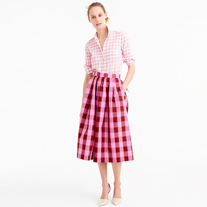 Petite Cotton Midi Skirt In Oversized Gingham - length: below the knee; pattern: checked/gingham; style: full/prom skirt; fit: loose/voluminous; waist: high rise; predominant colour: hot pink; fibres: cotton - 100%; occasions: occasion, creative work; hip detail: subtle/flattering hip detail; texture group: cotton feel fabrics; pattern type: fabric; pattern size: big & busy (bottom); season: s/s 2016; wardrobe: highlight