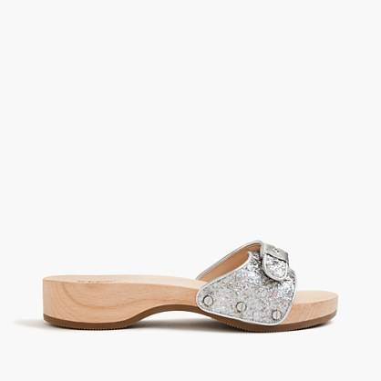 Dr. Scholl's® For Sandals In Hologram Glitter - predominant colour: silver; occasions: casual, holiday; material: fabric; heel height: flat; embellishment: glitter; heel: wedge; toe: open toe/peeptoe; style: slides; finish: metallic; pattern: plain; season: s/s 2016; wardrobe: highlight