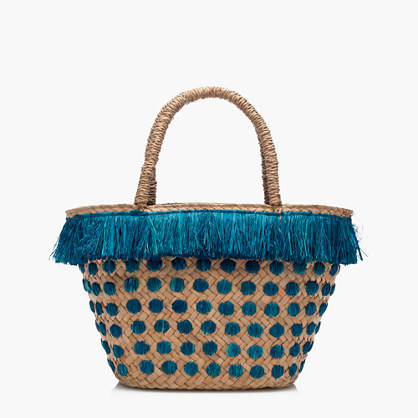 Kayu™ Kama Tote - secondary colour: turquoise; predominant colour: camel; occasions: casual, creative work; type of pattern: light; style: tote; length: handle; size: oversized; material: macrame/raffia/straw; embellishment: tassels; finish: plain; pattern: patterned/print; season: s/s 2016; wardrobe: highlight