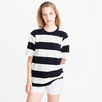 Short Sleeve Rugby Stripe T Shirt - pattern: horizontal stripes; length: below the bottom; style: t-shirt; secondary colour: white; predominant colour: black; occasions: casual; fibres: cotton - 100%; fit: body skimming; neckline: crew; sleeve length: half sleeve; sleeve style: standard; texture group: cotton feel fabrics; pattern type: fabric; pattern size: standard; season: s/s 2016; wardrobe: basic