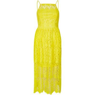 Womens Yellow Lace Midi Dress - style: shift; length: calf length; neckline: high square neck; sleeve style: sleeveless; predominant colour: yellow; occasions: evening; fit: body skimming; fibres: polyester/polyamide - 100%; sleeve length: sleeveless; texture group: lace; pattern type: fabric; pattern: patterned/print; season: s/s 2016; wardrobe: event