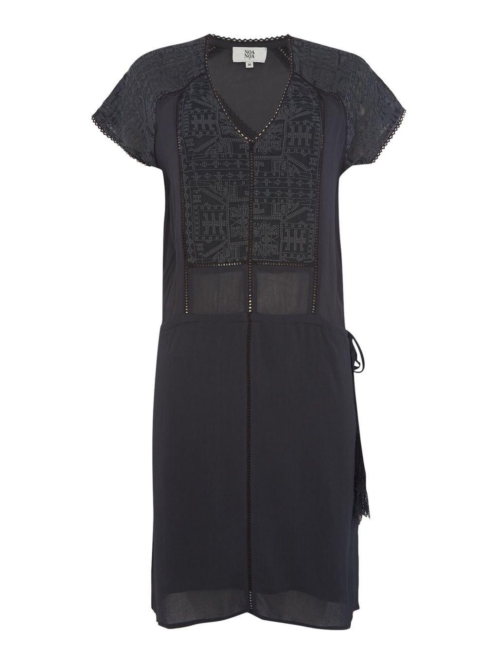 Short Sleeve Dress, Grey - style: shift; neckline: round neck; pattern: plain; predominant colour: black; occasions: evening; length: just above the knee; fit: body skimming; fibres: viscose/rayon - 100%; sleeve length: short sleeve; sleeve style: standard; pattern type: fabric; texture group: other - light to midweight; embellishment: lace; season: s/s 2016; wardrobe: event; embellishment location: bust, shoulder