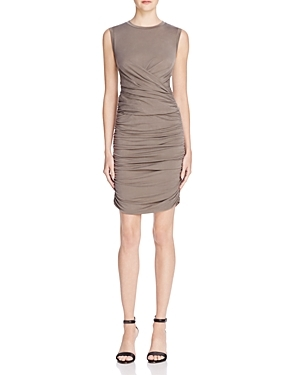 Cupro Jersey Dress - length: mini; fit: tight; pattern: plain; sleeve style: sleeveless; style: bodycon; waist detail: flattering waist detail; predominant colour: taupe; occasions: evening, occasion; fibres: polyester/polyamide - stretch; neckline: crew; hip detail: adds bulk at the hips; sleeve length: sleeveless; pattern type: fabric; texture group: jersey - stretchy/drapey; season: s/s 2016; wardrobe: event