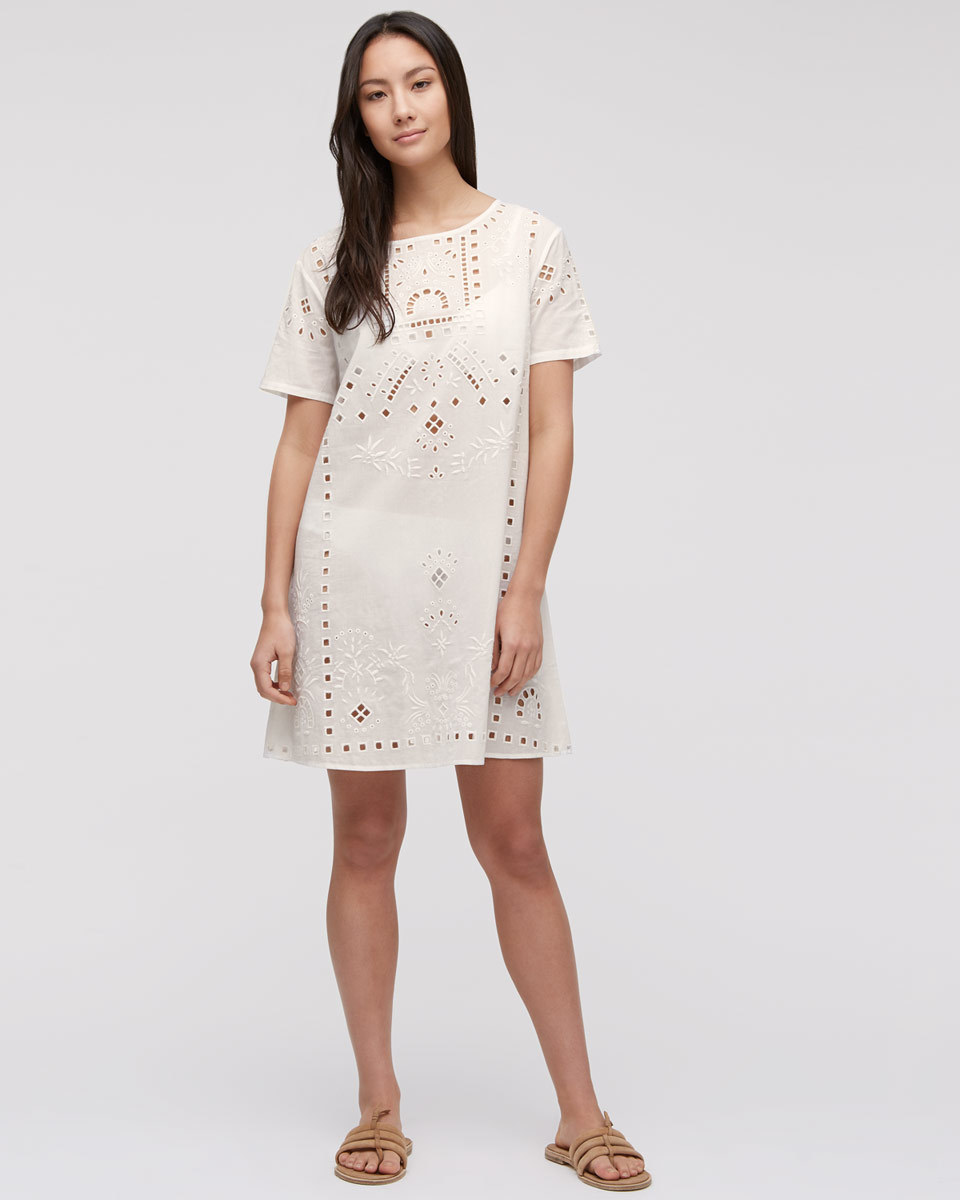 Cut Out Beach Dress - style: shift; length: mid thigh; pattern: plain; predominant colour: white; occasions: casual, holiday; fit: soft a-line; fibres: cotton - 100%; neckline: crew; sleeve length: short sleeve; sleeve style: standard; texture group: cotton feel fabrics; pattern type: fabric; pattern size: standard; season: s/s 2016; wardrobe: basic