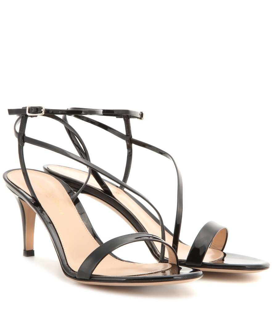 Carlyle Patent Leather Sandals - predominant colour: black; occasions: evening, occasion; material: leather; heel height: high; ankle detail: ankle strap; heel: stiletto; toe: open toe/peeptoe; style: strappy; finish: plain; pattern: plain; season: s/s 2016; wardrobe: event