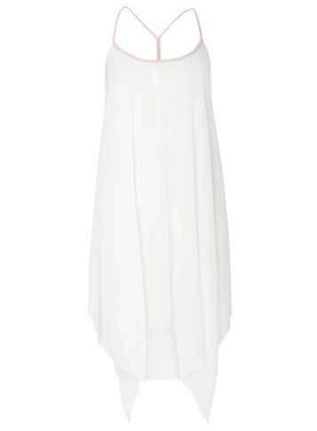 Womens White Hanky Hem Beach Dress White - length: below the knee; sleeve style: spaghetti straps; fit: loose; pattern: plain; style: sundress; predominant colour: white; neckline: scoop; fibres: viscose/rayon - 100%; sleeve length: sleeveless; occasions: holiday; pattern type: fabric; texture group: jersey - stretchy/drapey; season: s/s 2016; wardrobe: holiday