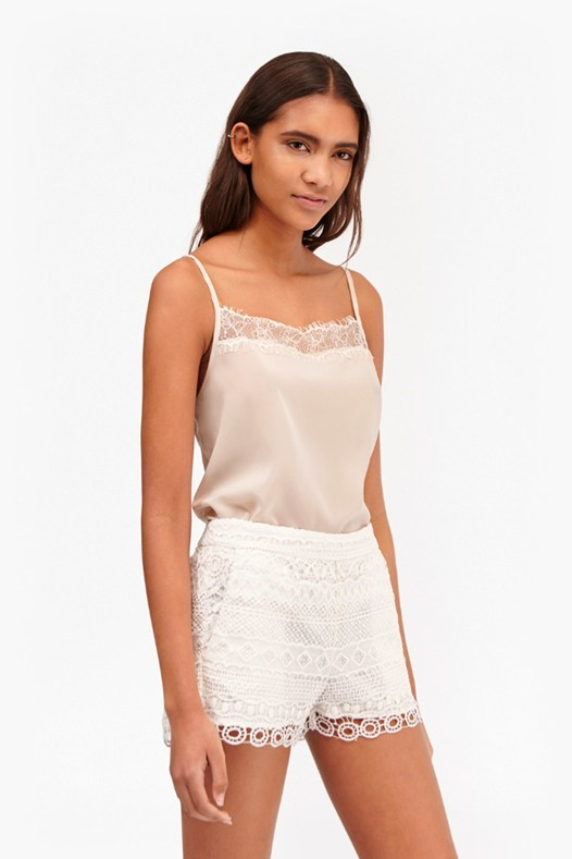 Polly Plains Lace Trim Cami Top Classic Cream - sleeve style: spaghetti straps; pattern: plain; style: camisole; back detail: racer back/sports back; predominant colour: blush; occasions: casual; length: standard; fibres: viscose/rayon - 100%; fit: body skimming; sleeve length: short sleeve; texture group: crepes; neckline: low square neck; pattern type: fabric; embellishment: lace; season: s/s 2016; wardrobe: highlight