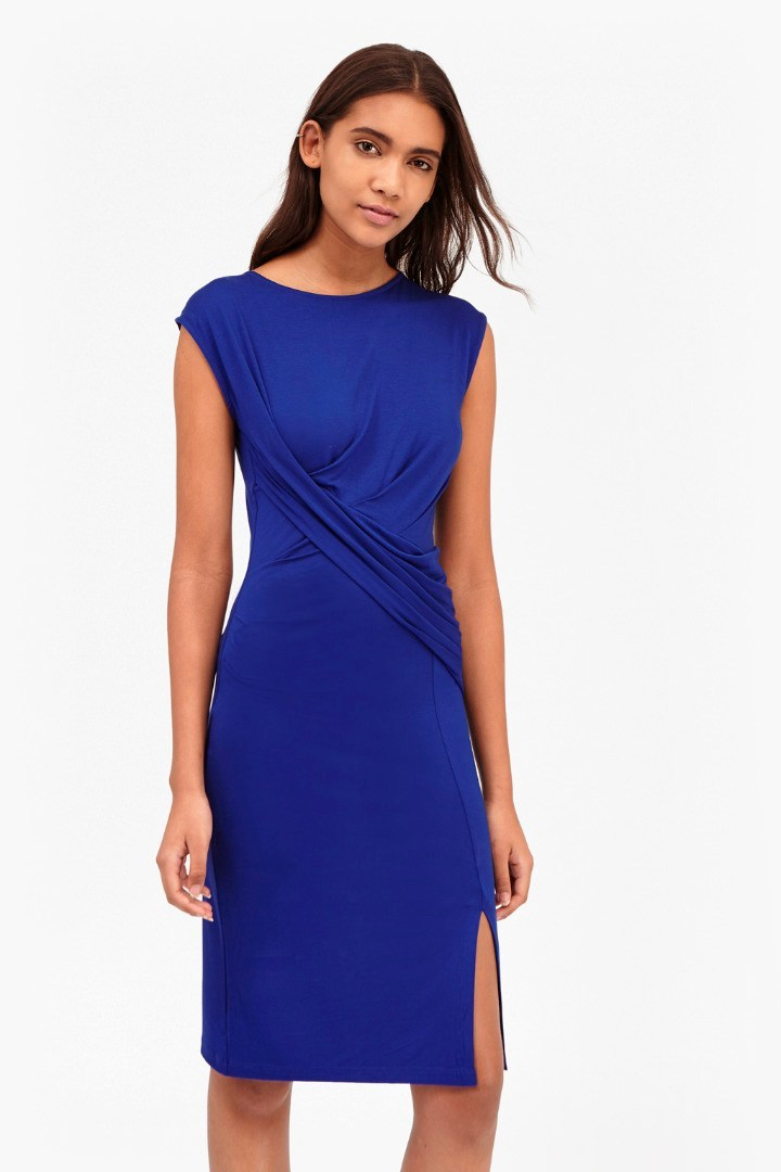 Shadow Dance Wrap Jersey Dress Royal Blue - style: shift; neckline: round neck; fit: tailored/fitted; pattern: horizontal stripes; sleeve style: sleeveless; waist detail: flattering waist detail; predominant colour: royal blue; occasions: evening, occasion; length: on the knee; fibres: viscose/rayon - stretch; sleeve length: sleeveless; texture group: jersey - clingy; pattern type: fabric; season: s/s 2016; wardrobe: event