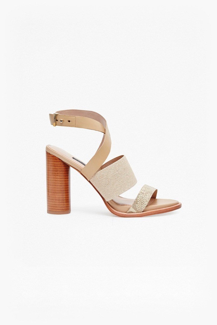 Umeko Strappy Block Heeled Sandals Palm Sands/Natural - predominant colour: nude; occasions: evening; material: leather; heel height: high; ankle detail: ankle strap; heel: block; toe: open toe/peeptoe; style: strappy; finish: plain; pattern: plain; season: s/s 2016; wardrobe: event