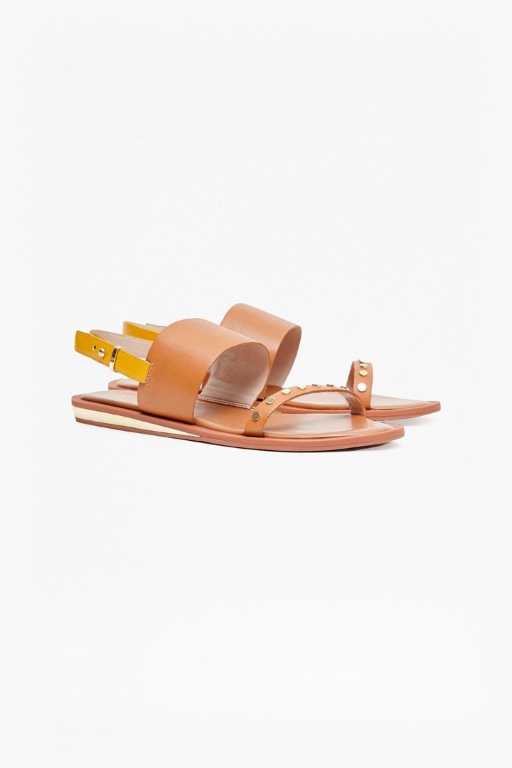 Indah Studded Contrast Strap Sandals Safari Sands/Sudan Sun - predominant colour: tan; occasions: casual, holiday; material: faux leather; heel height: flat; heel: wedge; toe: open toe/peeptoe; style: strappy; finish: plain; pattern: plain; season: s/s 2016; wardrobe: highlight