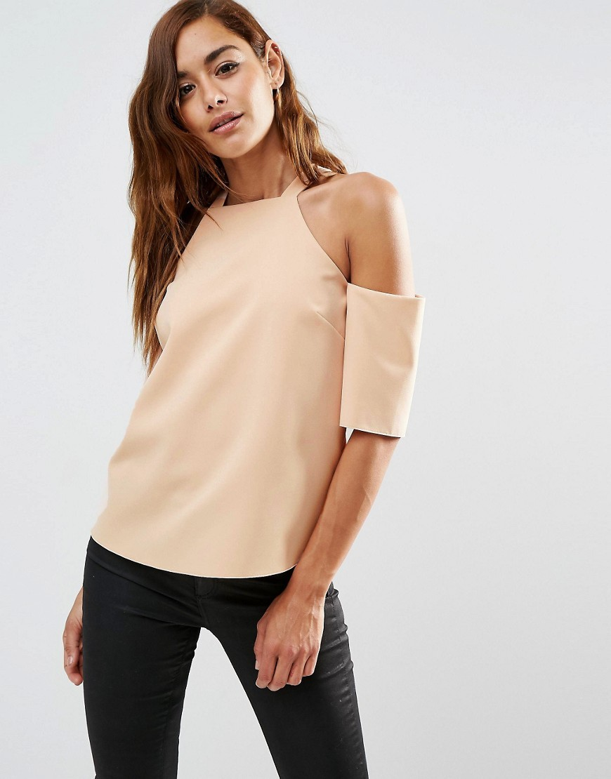 Crepe Cold Shoulder With High Neck Detail Nude - pattern: plain; predominant colour: nude; occasions: casual, creative work; length: standard; style: top; fibres: polyester/polyamide - 100%; fit: body skimming; neckline: crew; shoulder detail: cut out shoulder; sleeve length: half sleeve; sleeve style: standard; texture group: crepes; pattern type: fabric; season: s/s 2016; wardrobe: highlight