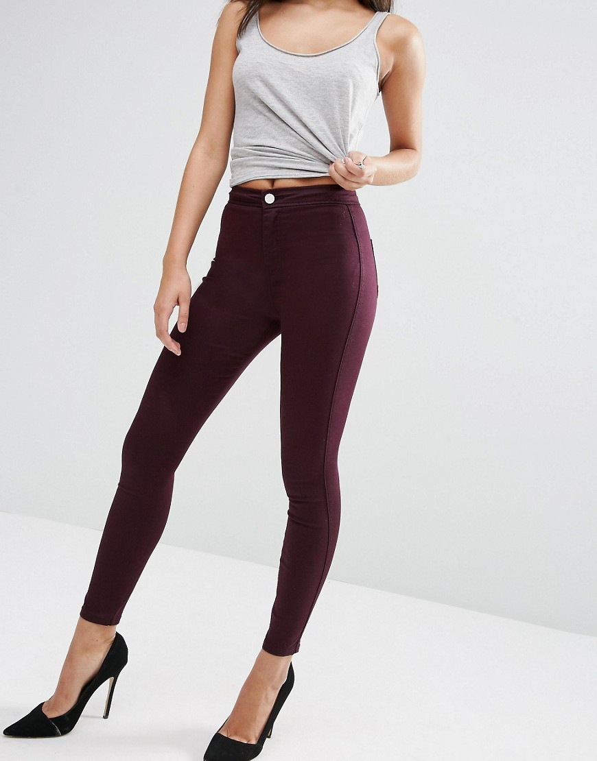 Rivington High Waist Denim Jeggings In Oxblood Oxblood - style: skinny leg; length: standard; pattern: plain; waist: high rise; pocket detail: traditional 5 pocket; predominant colour: burgundy; occasions: casual; fibres: cotton - stretch; texture group: denim; pattern type: fabric; season: s/s 2016; wardrobe: highlight