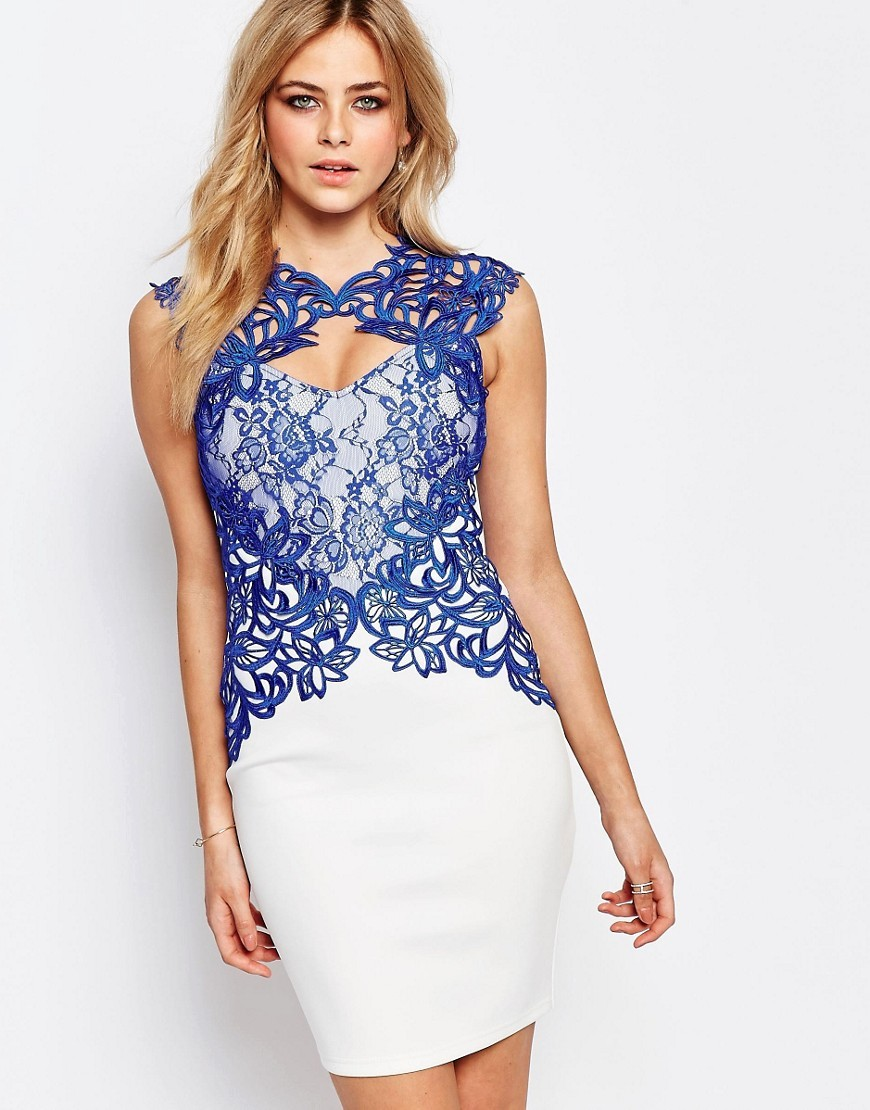 Lace Detail Bodycon Midi Dress White/ Cobalt - length: mini; sleeve style: capped; fit: tight; style: bodycon; predominant colour: white; secondary colour: royal blue; occasions: evening, occasion; fibres: polyester/polyamide - stretch; neckline: crew; sleeve length: sleeveless; texture group: jersey - clingy; pattern type: fabric; pattern size: standard; pattern: patterned/print; season: s/s 2016; wardrobe: event; embellishment: contrast fabric; embellishment location: hip, top