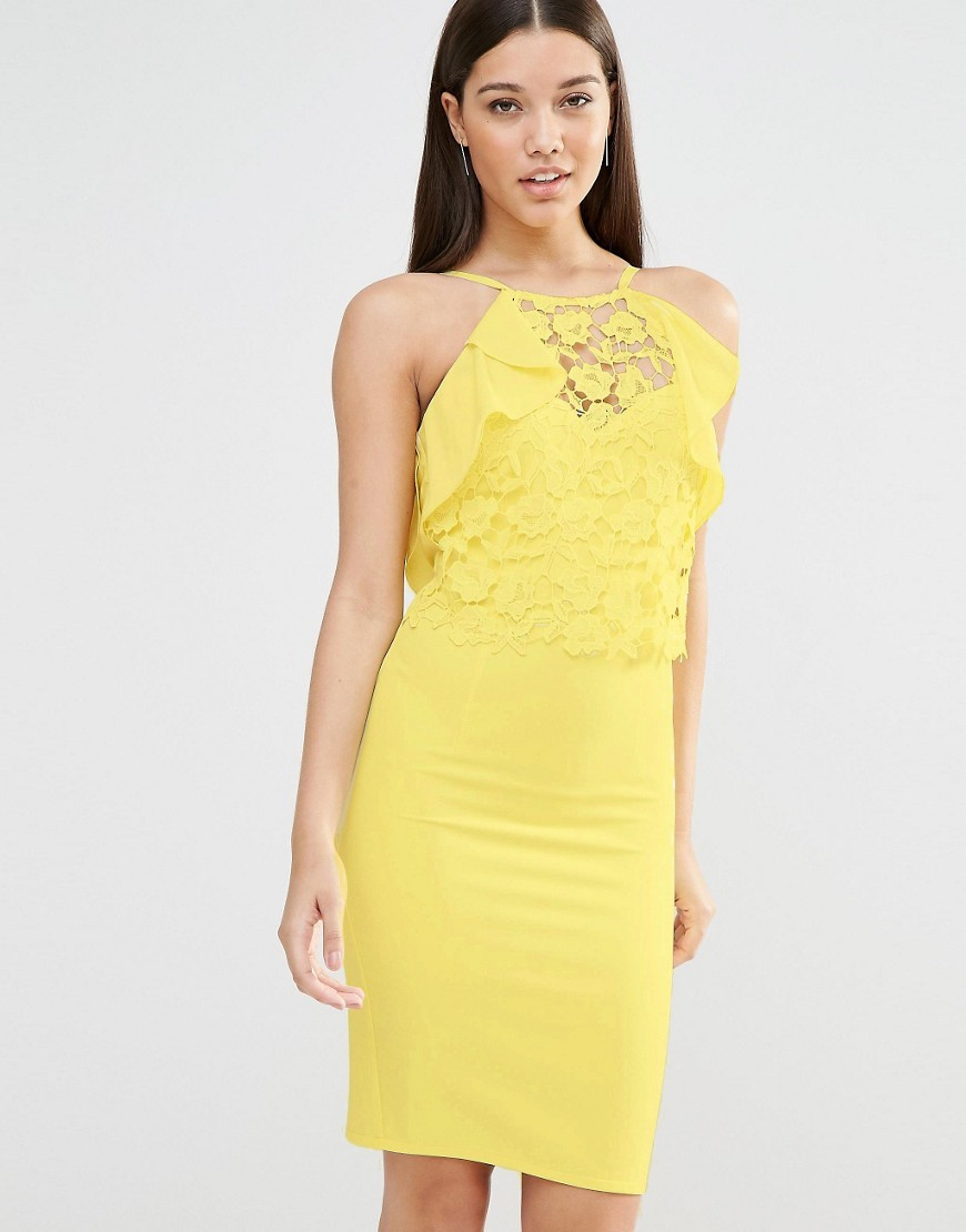 Ruffle Lace Bodycon Dress Yellow - fit: tight; pattern: plain; sleeve style: sleeveless; style: bodycon; predominant colour: yellow; occasions: evening, occasion; length: just above the knee; fibres: polyester/polyamide - stretch; neckline: crew; sleeve length: sleeveless; texture group: cotton feel fabrics; pattern type: fabric; embellishment: lace; season: s/s 2016