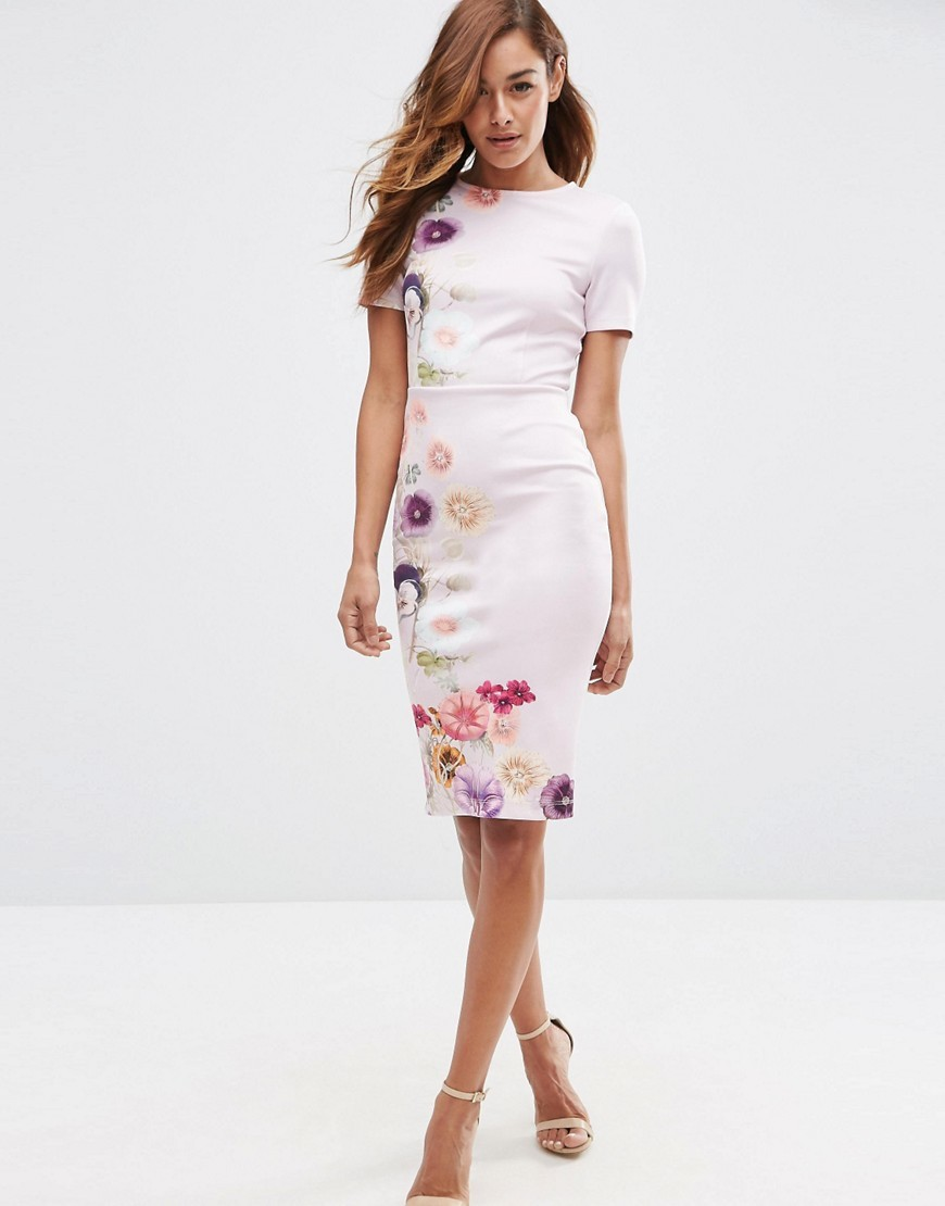 Placed Floral Printed T Shirt Bodycon Dress Multi - style: shift; fit: tailored/fitted; predominant colour: pink; secondary colour: blush; occasions: evening, occasion; length: on the knee; fibres: polyester/polyamide - stretch; neckline: crew; sleeve length: short sleeve; sleeve style: standard; pattern type: fabric; pattern: florals; texture group: woven light midweight; season: s/s 2016; wardrobe: event