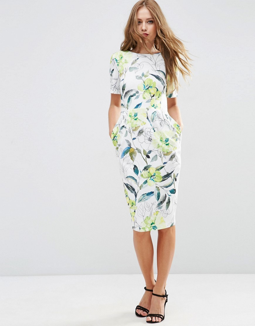 Textured Wiggle Dress In Watercolour Floral Print Multi - style: shift; length: below the knee; fit: tailored/fitted; predominant colour: white; secondary colour: pistachio; occasions: evening; fibres: polyester/polyamide - stretch; neckline: crew; sleeve length: short sleeve; sleeve style: standard; pattern type: fabric; pattern size: light/subtle; pattern: florals; texture group: woven light midweight; season: s/s 2016; wardrobe: event