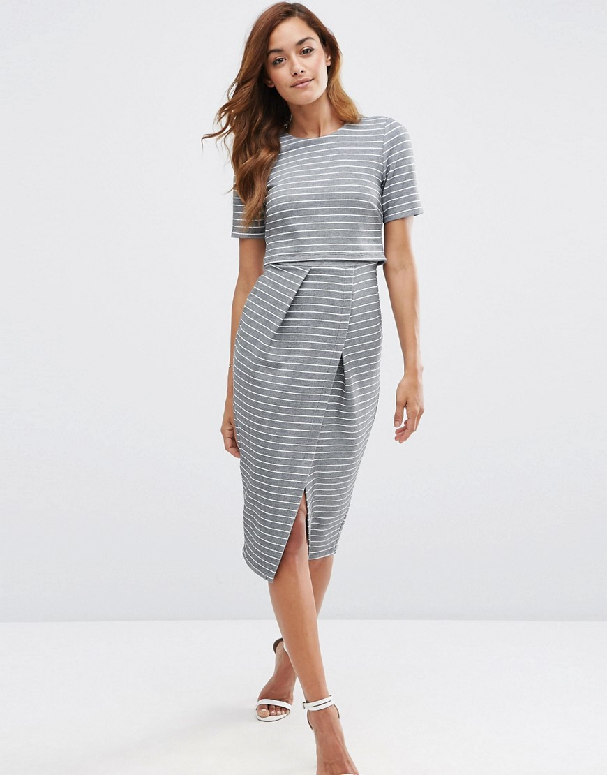 Double Layer Wiggle Dress In Stripe Grey - style: shift; length: below the knee; fit: tailored/fitted; predominant colour: navy; fibres: polyester/polyamide - stretch; neckline: crew; sleeve length: short sleeve; sleeve style: standard; pattern type: fabric; pattern size: light/subtle; pattern: patterned/print; texture group: woven light midweight; occasions: creative work; season: s/s 2016; wardrobe: highlight