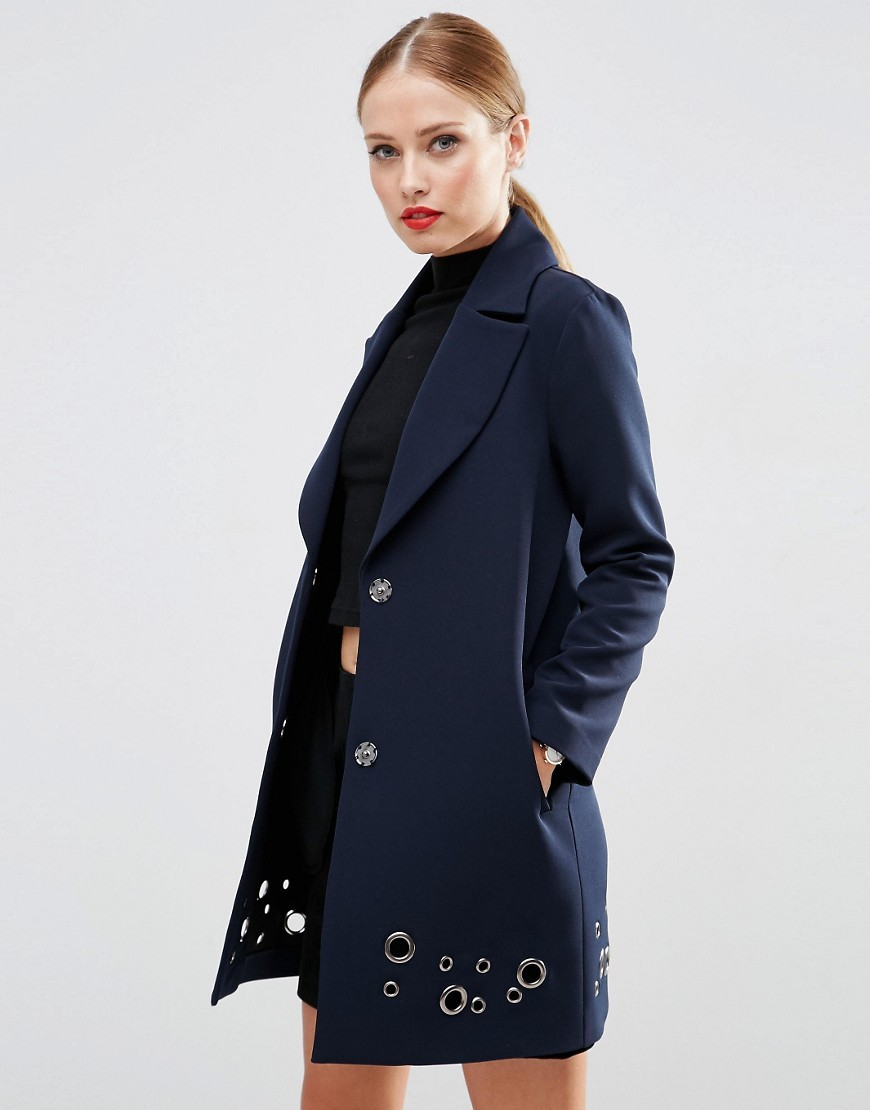 Coat With Eyelet Detail Navy - pattern: plain; style: single breasted; collar: standard lapel/rever collar; length: mid thigh; predominant colour: navy; secondary colour: silver; occasions: casual, creative work; fit: tailored/fitted; fibres: polyester/polyamide - stretch; sleeve length: long sleeve; sleeve style: standard; collar break: low/open; pattern type: fabric; texture group: other - light to midweight; embellishment: studs; season: s/s 2016; wardrobe: highlight; embellishment location: hip