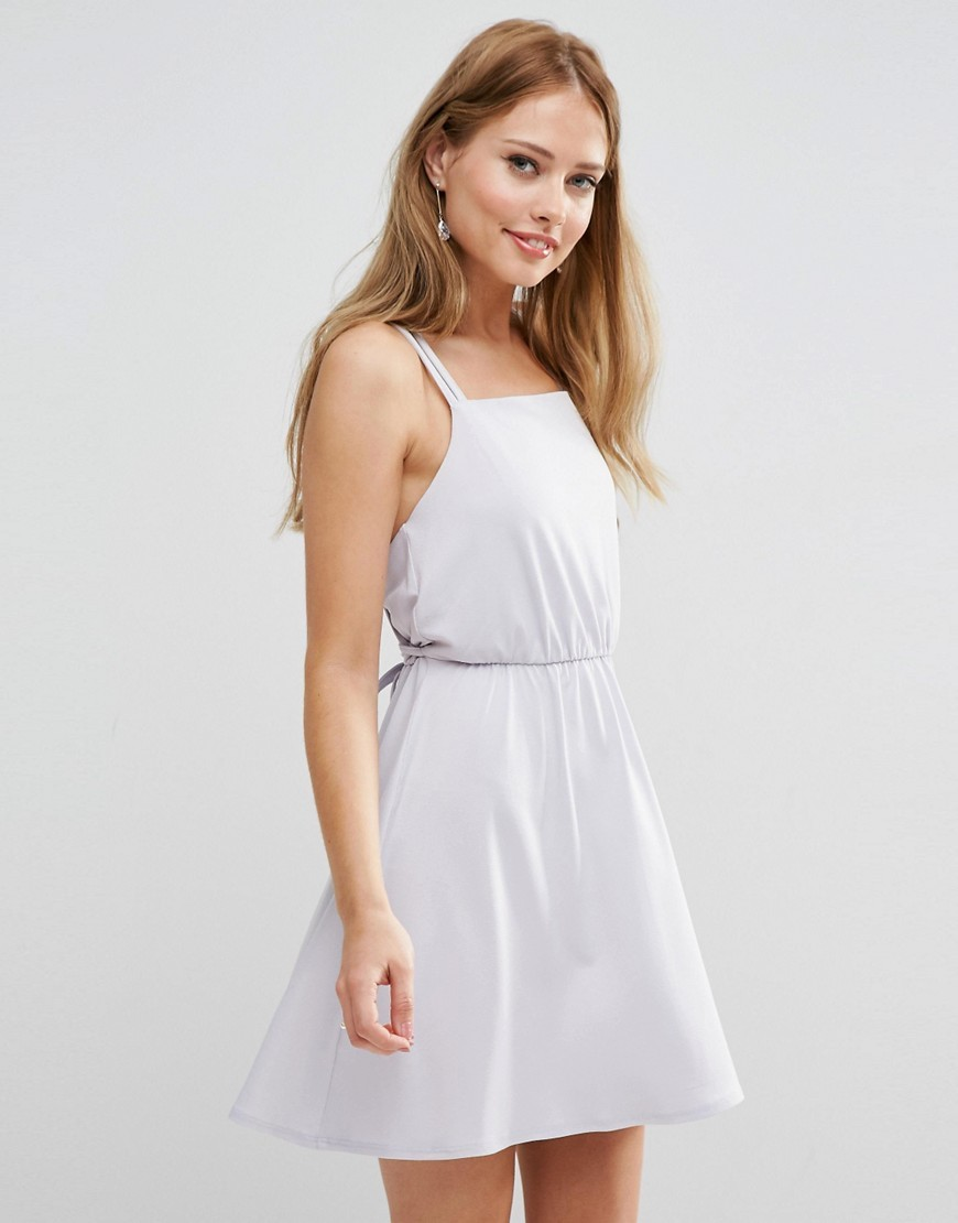 Wedding Crepe Cross Back Mini Dress Grey - length: mid thigh; pattern: plain; sleeve style: sleeveless; predominant colour: light grey; occasions: evening; fit: fitted at waist & bust; style: fit & flare; fibres: polyester/polyamide - stretch; sleeve length: sleeveless; neckline: medium square neck; pattern type: fabric; texture group: jersey - stretchy/drapey; season: s/s 2016; wardrobe: event