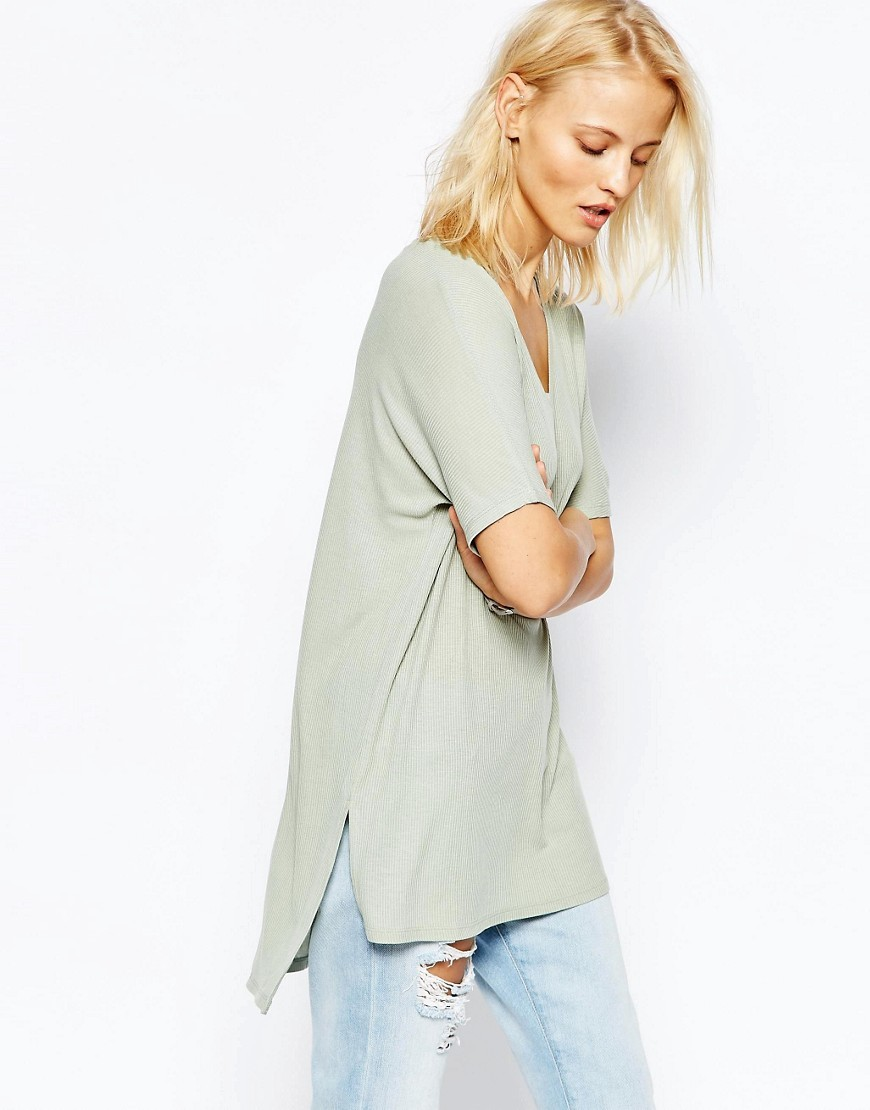 V Neck Oversized Slouchy Rib Sage - neckline: round neck; pattern: plain; length: below the bottom; style: t-shirt; predominant colour: light grey; occasions: casual; fibres: cotton - stretch; fit: straight cut; sleeve length: short sleeve; sleeve style: standard; pattern type: knitted - fine stitch; texture group: jersey - stretchy/drapey; season: s/s 2016; wardrobe: basic