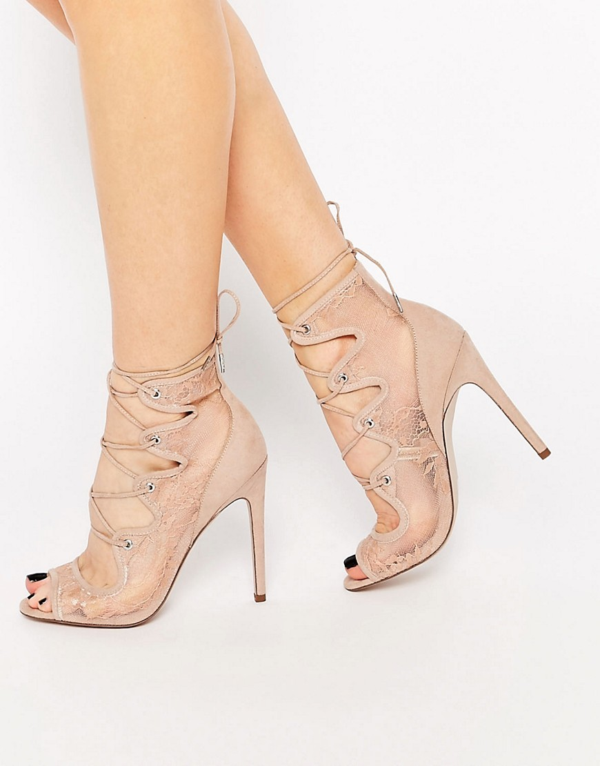 Perception Lace Up Heels Nude - predominant colour: nude; occasions: evening, occasion; material: faux leather; ankle detail: ankle tie; heel: stiletto; toe: open toe/peeptoe; style: strappy; finish: plain; pattern: plain; heel height: very high; season: s/s 2016; wardrobe: event