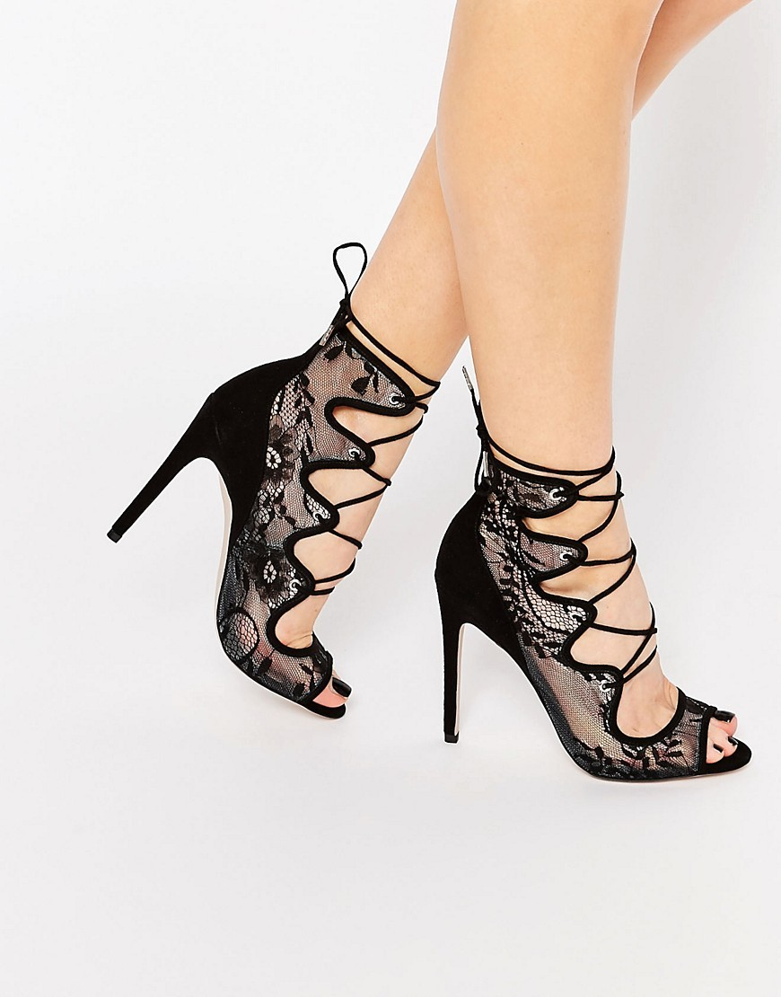 Perception Lace Up Heels Black - predominant colour: black; occasions: evening, occasion; material: suede; ankle detail: ankle tie; heel: stiletto; toe: open toe/peeptoe; style: strappy; finish: plain; pattern: plain; heel height: very high; embellishment: lace; season: s/s 2016; wardrobe: event