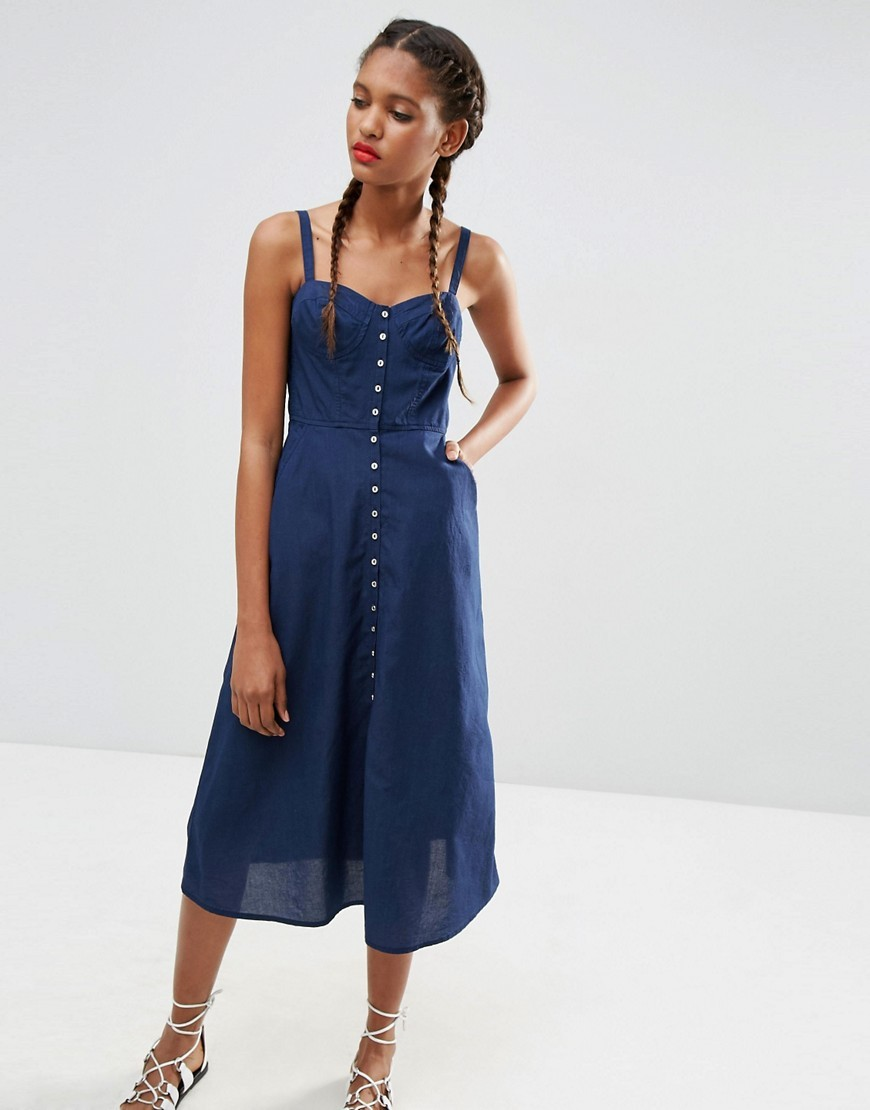 Denim Bethany Button Through Midi Dress Darkwash Blue - length: calf length; sleeve style: spaghetti straps; pattern: plain; style: sundress; neckline: sweetheart; predominant colour: royal blue; occasions: casual, holiday; fit: fitted at waist & bust; fibres: cotton - 100%; sleeve length: sleeveless; texture group: cotton feel fabrics; pattern type: fabric; season: s/s 2016; wardrobe: highlight