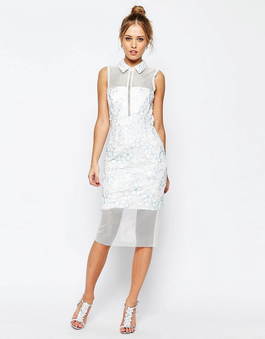 Salon Mesh Collar Midi Dress White - style: shift; length: below the knee; pattern: plain; predominant colour: white; occasions: evening, occasion; fit: body skimming; fibres: polyester/polyamide - 100%; neckline: no opening/shirt collar/peter pan; sleeve length: sleeveless; sleeve style: standard; pattern type: fabric; texture group: other - light to midweight; season: s/s 2016