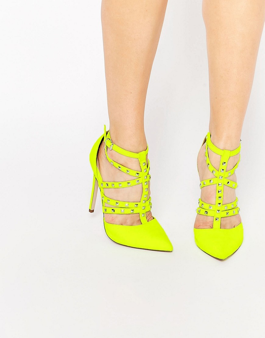 Protector Stud Detail Caged Heels Chartreuse - predominant colour: yellow; occasions: evening, occasion; material: leather; heel height: high; embellishment: studs; ankle detail: ankle strap; heel: stiletto; toe: pointed toe; style: courts; finish: plain; pattern: plain; season: s/s 2016; wardrobe: event
