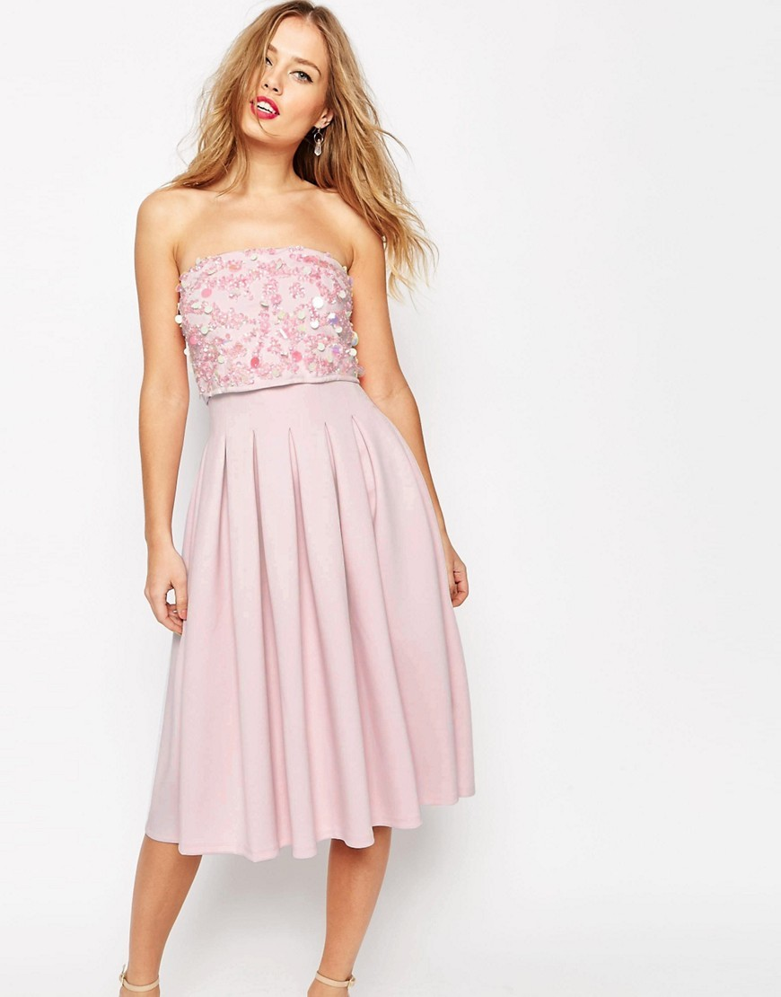 Salon Embellished Bandeau Scuba Midi Dress Nude - length: below the knee; neckline: strapless (straight/sweetheart); pattern: plain; style: prom dress; sleeve style: strapless; waist detail: fitted waist; predominant colour: blush; fit: fitted at waist & bust; fibres: polyester/polyamide - stretch; occasions: occasion; hip detail: adds bulk at the hips; sleeve length: sleeveless; texture group: sheer fabrics/chiffon/organza etc.; pattern type: fabric; embellishment: sequins; season: s/s 2016; wardrobe: event