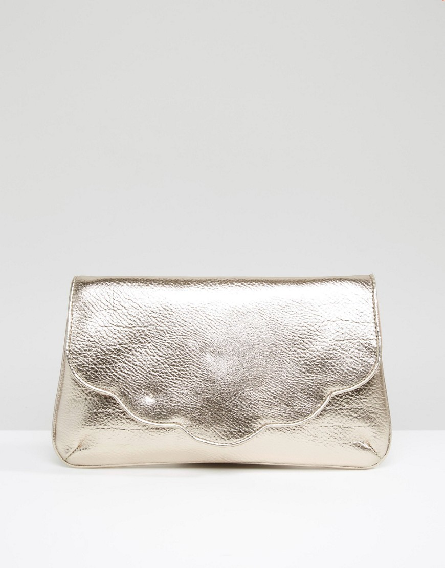 Metallic Scallop Clutch Bag Bronze - predominant colour: gold; occasions: evening, occasion; type of pattern: standard; style: clutch; length: hand carry; size: standard; material: faux leather; pattern: plain; finish: metallic; season: s/s 2016