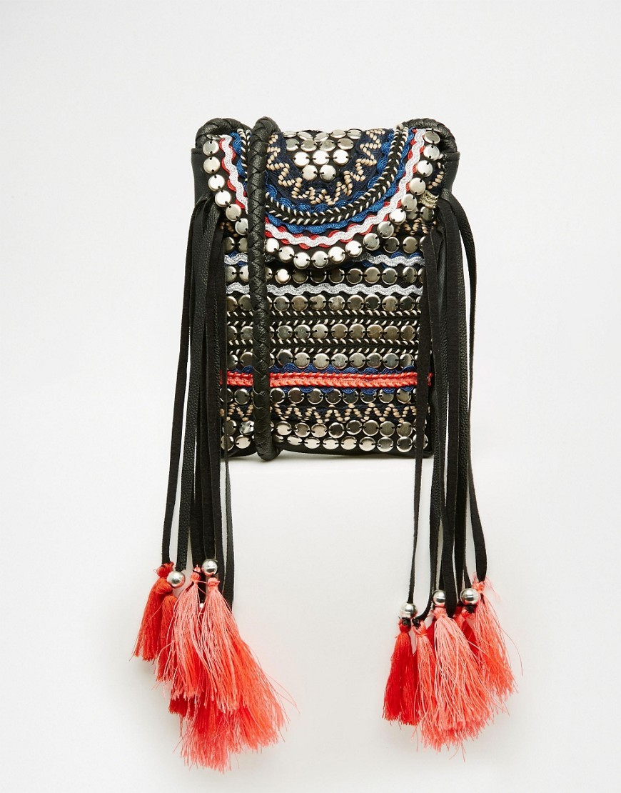 Hand Embellished Cross Body Bag Multi - secondary colour: silver; predominant colour: black; occasions: casual, creative work; type of pattern: light; style: rucksack; length: rucksack; size: standard; material: fabric; embellishment: tassels; finish: plain; pattern: patterned/print; season: s/s 2016; wardrobe: highlight