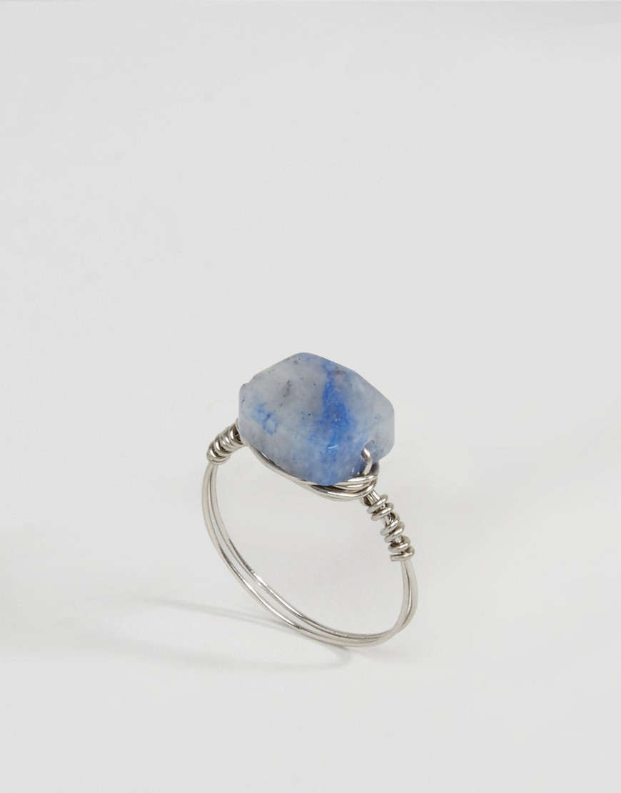 Wire Wrapped Stone Ring Rhodium - secondary colour: pale blue; predominant colour: silver; style: precious; size: standard; material: chain/metal; finish: metallic; embellishment: jewels/stone; occasions: creative work; season: s/s 2016; wardrobe: basic