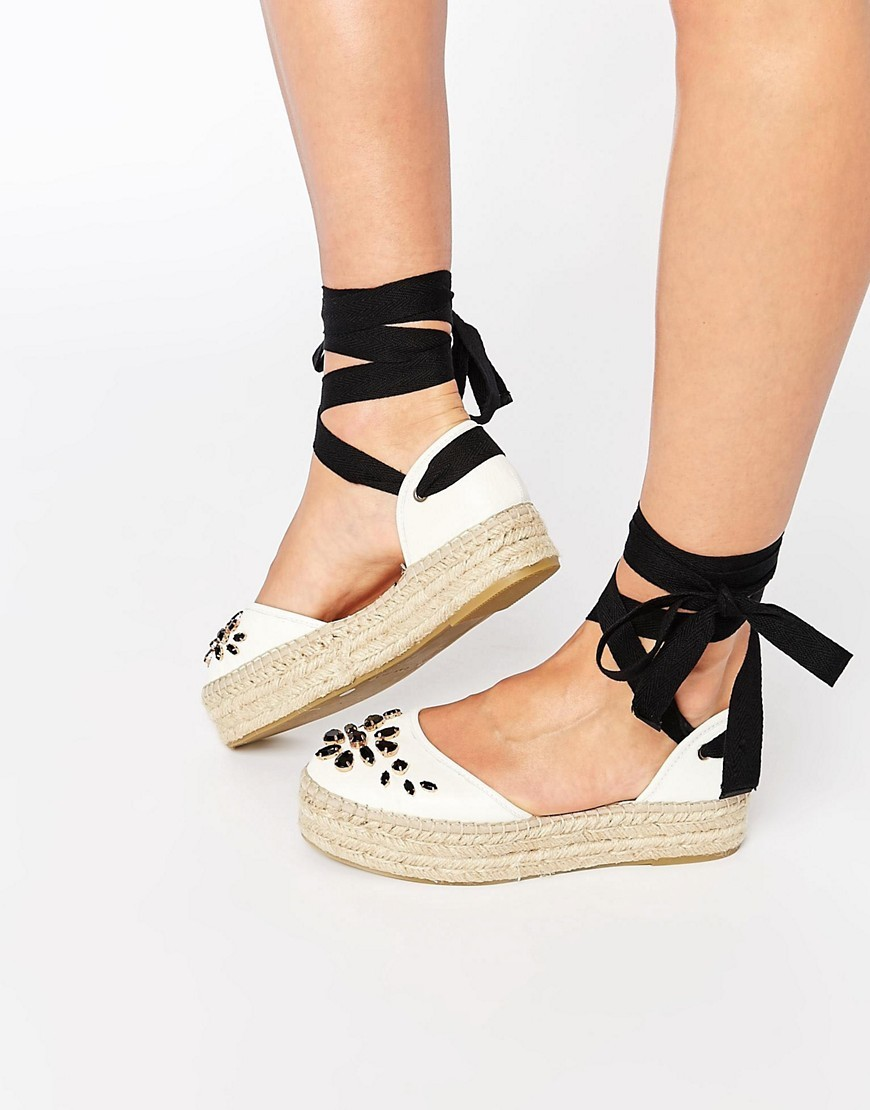 Leather Embellished Espadrille White Leather - predominant colour: white; occasions: casual; material: fabric; heel height: flat; toe: round toe; finish: plain; pattern: colourblock; style: espadrilles; season: s/s 2016; wardrobe: highlight