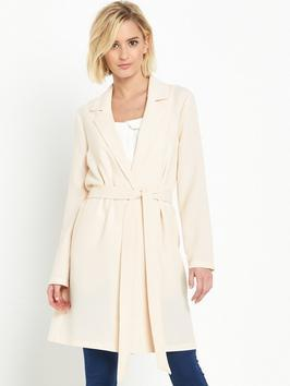 Vanilla Duster Coat - pattern: plain; style: single breasted; collar: standard lapel/rever collar; length: mid thigh; predominant colour: ivory/cream; occasions: casual, creative work; fit: tailored/fitted; fibres: polyester/polyamide - 100%; waist detail: belted waist/tie at waist/drawstring; sleeve length: long sleeve; sleeve style: standard; collar break: medium; pattern type: fabric; texture group: woven light midweight; season: s/s 2016; wardrobe: basic