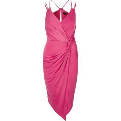 Womens Pink Draped Dress - style: faux wrap/wrap; neckline: v-neck; pattern: plain; sleeve style: sleeveless; back detail: racer back/sports back; predominant colour: hot pink; length: on the knee; fit: body skimming; fibres: polyester/polyamide - stretch; occasions: occasion; sleeve length: sleeveless; texture group: jersey - clingy; pattern type: fabric; season: s/s 2016; wardrobe: event