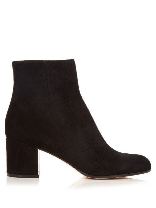 Margaux Block Heel Suede Ankle Boots - predominant colour: black; occasions: casual, creative work; material: suede; heel height: mid; heel: block; toe: round toe; boot length: ankle boot; style: standard; finish: plain; pattern: plain; season: s/s 2016; wardrobe: basic
