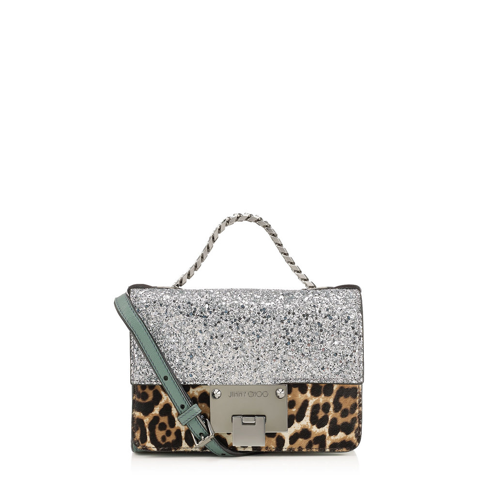 Rebel Soft Mini Silver Coarse Glitter Fabric And Leopard Print Pony Mini Cross Body Bag - predominant colour: camel; secondary colour: silver; type of pattern: standard; style: clutch; length: handle; size: small; material: leather; embellishment: glitter; pattern: animal print; finish: metallic; occasions: creative work; multicoloured: multicoloured; season: s/s 2016