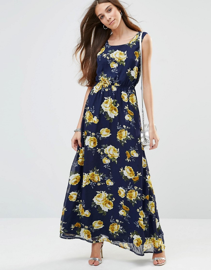 Maxi Dress In Floral Print Navy - neckline: round neck; fit: fitted at waist; sleeve style: sleeveless; style: maxi dress; predominant colour: navy; secondary colour: primrose yellow; length: floor length; fibres: polyester/polyamide - 100%; occasions: occasion; sleeve length: sleeveless; pattern type: fabric; pattern size: standard; pattern: florals; texture group: other - light to midweight; season: s/s 2016; wardrobe: event