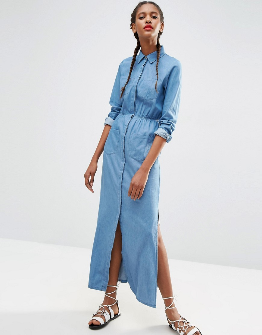 Denim Maxi Shirt Dress In Light Blue Wash Light Wash Blue - style: shirt; neckline: shirt collar/peter pan/zip with opening; fit: fitted at waist; pattern: plain; length: ankle length; waist detail: fitted waist; predominant colour: denim; occasions: casual; fibres: cotton - stretch; hip detail: slits at hip; sleeve length: 3/4 length; sleeve style: standard; texture group: denim; pattern type: fabric; season: s/s 2016; wardrobe: basic