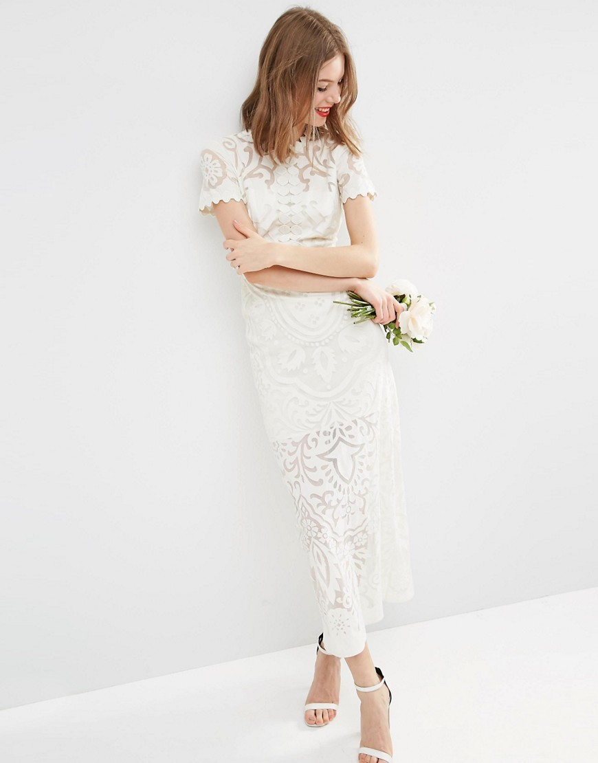 Bridal Lace Burn Out Maxi Dress Cream - style: maxi dress; length: ankle length; predominant colour: white; fit: body skimming; fibres: polyester/polyamide - 100%; occasions: occasion; neckline: crew; sleeve length: short sleeve; sleeve style: standard; texture group: lace; pattern type: fabric; pattern size: standard; pattern: patterned/print; season: s/s 2016