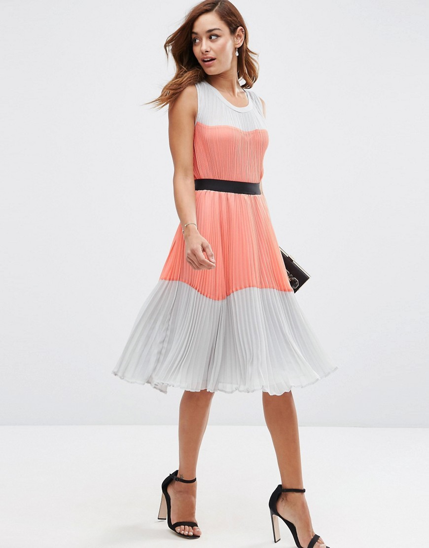 Pleated Colourblock Dress Multi - length: below the knee; neckline: round neck; sleeve style: sleeveless; predominant colour: coral; secondary colour: light grey; occasions: evening, occasion; fit: fitted at waist & bust; style: fit & flare; fibres: polyester/polyamide - 100%; hip detail: adds bulk at the hips; waist detail: feature waist detail; sleeve length: sleeveless; texture group: sheer fabrics/chiffon/organza etc.; pattern type: fabric; pattern size: standard; pattern: colourblock; multicoloured: multicoloured; season: s/s 2016; wardrobe: event; embellishment: contrast fabric; embellishment location: shoulder