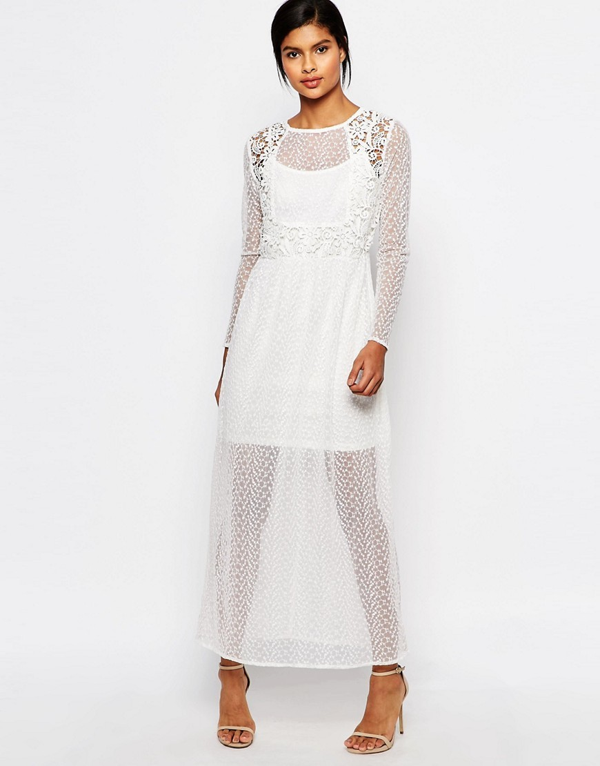Sheer Lace Mix Maxi Dress Snow White - neckline: round neck; fit: fitted at waist; pattern: plain; style: maxi dress; length: ankle length; predominant colour: white; fibres: nylon - 100%; occasions: occasion; sleeve length: long sleeve; sleeve style: standard; texture group: sheer fabrics/chiffon/organza etc.; pattern type: fabric; embellishment: lace; season: s/s 2016