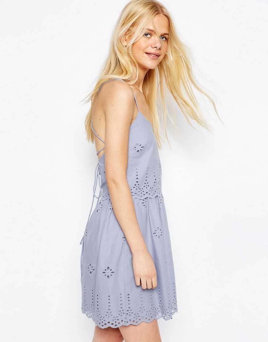 Strappy Broderie Mini Sundress Blue - length: mid thigh; neckline: low v-neck; sleeve style: sleeveless; style: sundress; predominant colour: pale blue; occasions: casual, holiday; fit: fitted at waist & bust; fibres: cotton - 100%; sleeve length: sleeveless; pattern type: fabric; pattern size: light/subtle; pattern: patterned/print; texture group: woven light midweight; season: s/s 2016; wardrobe: highlight