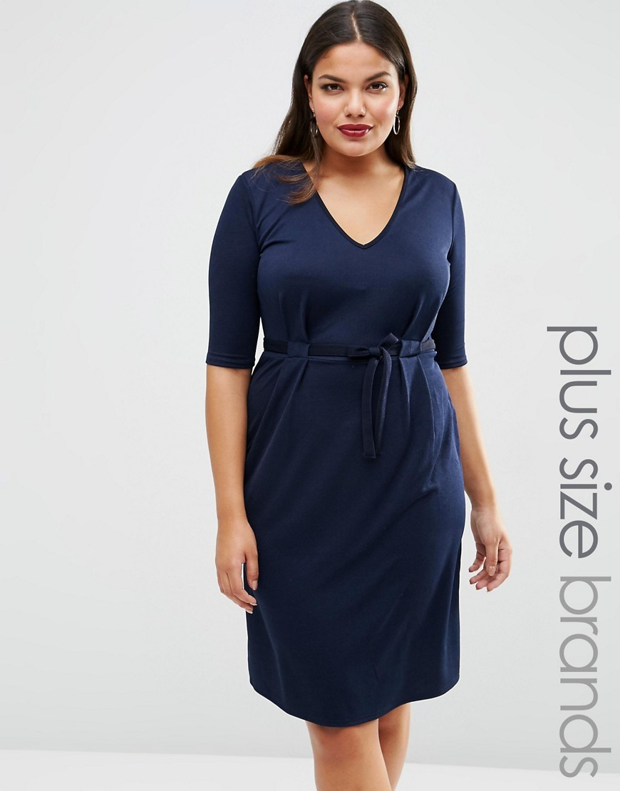 Plus Midi Dress With Pleat Front Navy - style: shift; neckline: low v-neck; fit: fitted at waist; pattern: plain; waist detail: fitted waist; predominant colour: navy; length: on the knee; fibres: polyester/polyamide - stretch; sleeve length: half sleeve; sleeve style: standard; pattern type: fabric; texture group: other - light to midweight; occasions: creative work; season: s/s 2016; wardrobe: investment
